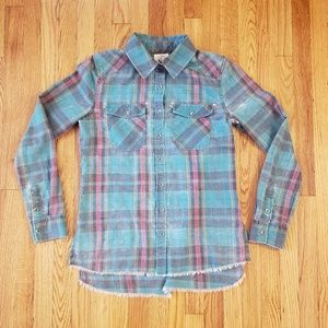 Billabong Women's Flannel With Raw edge bottom